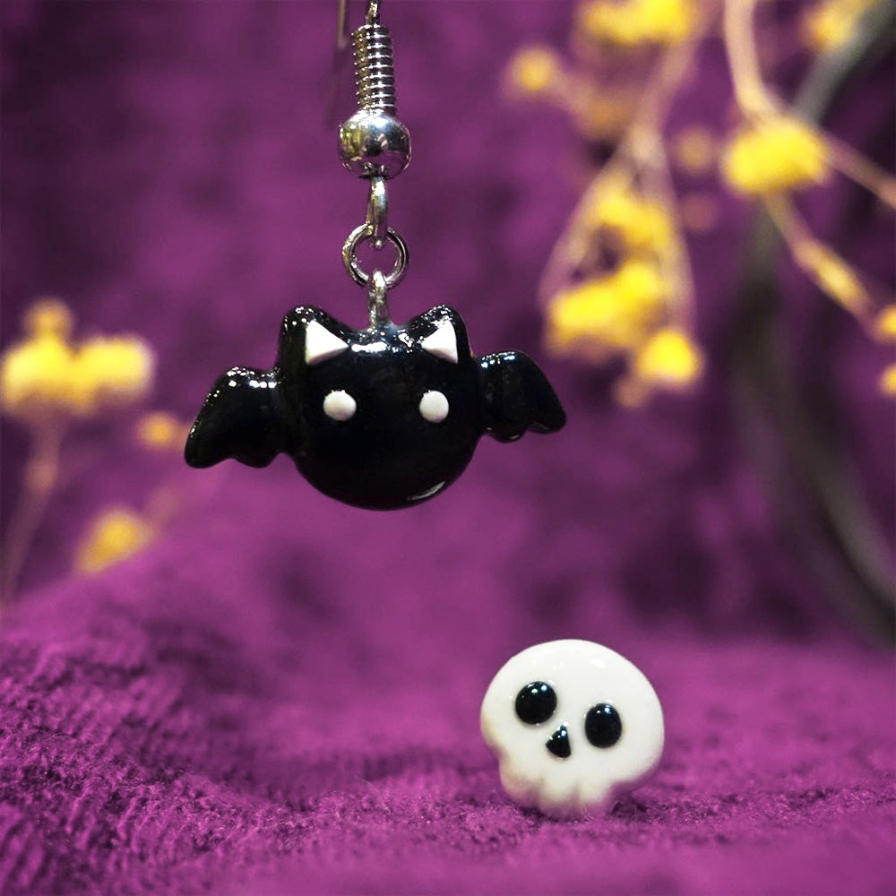Halloween Bat Cat x Spooky Skull Earring Set