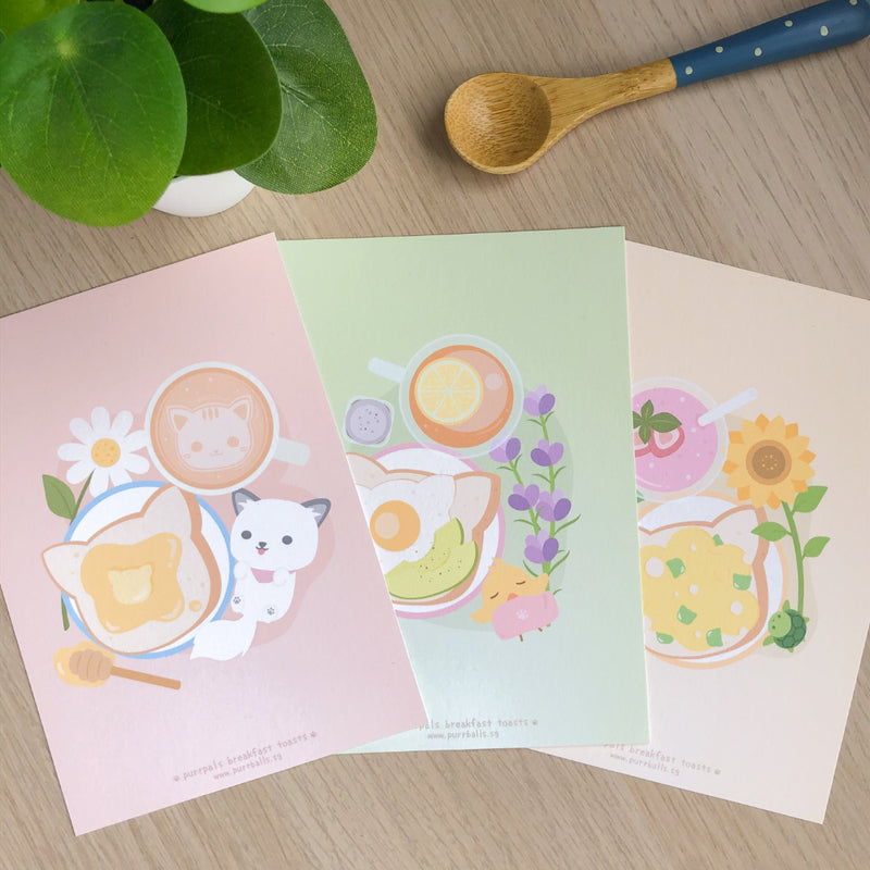 Purrpals Breakfast Toasts Art Print Set