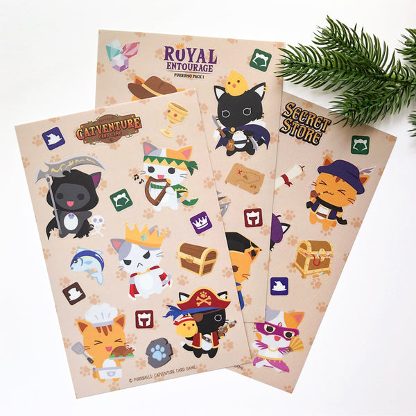 "Purrballs: Catventure Card Game ""Royal Entourage"" Sticker Sheet"
