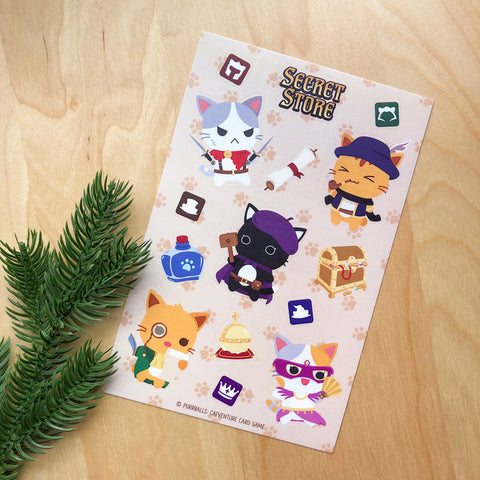 "Purrballs: Catventure Card Game ""Secret Store"" Sticker Sheet"