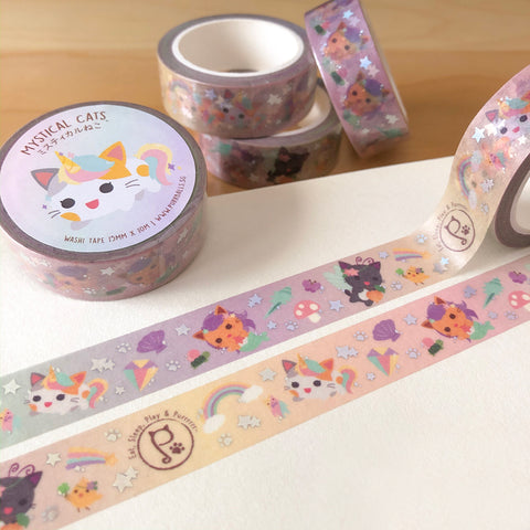 Mystical Cat Holo Foil Washi Tape