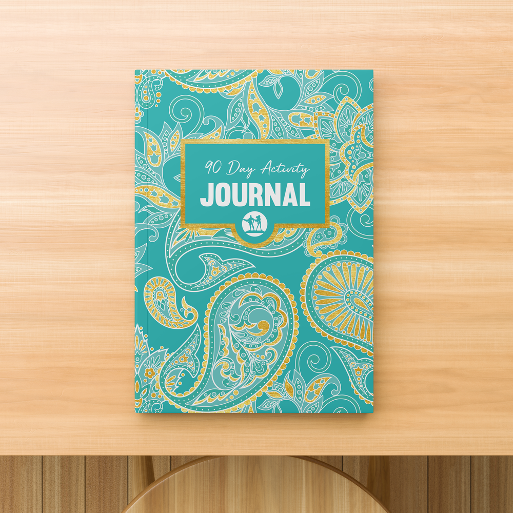 Rank Makers 90-Day Activity Tracker Journal - Blue/ Pink Paisley