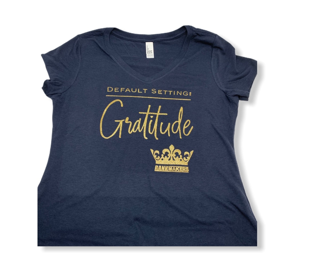 NEW!  Women's Gratitude shirt navy w/ gold glitter
