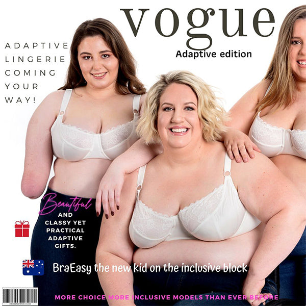 Three girls in bras. One in a wheel chair, one with a limb difference. Vogue in title to look like a magazine