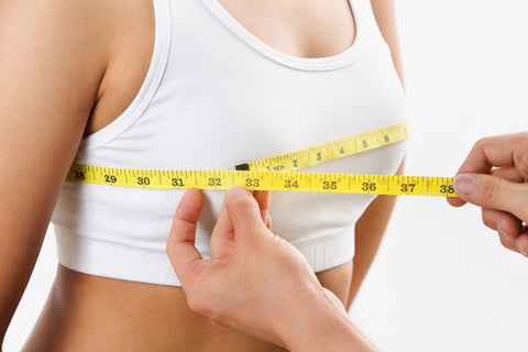Measure your cup size by measuring around your chest and across your breast.