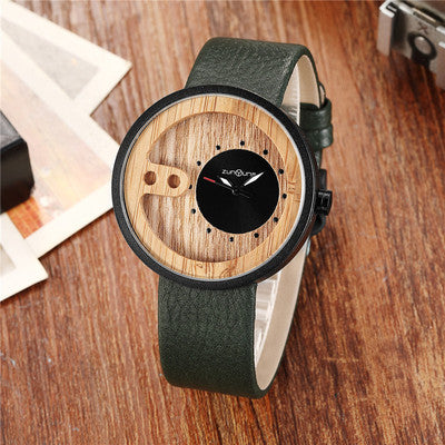 Fashion Top Brand Wooden Watch Men Exquisite Carving Hollow Design Male Clock Unique Green Leather Quartz Wood Watches - worldgad