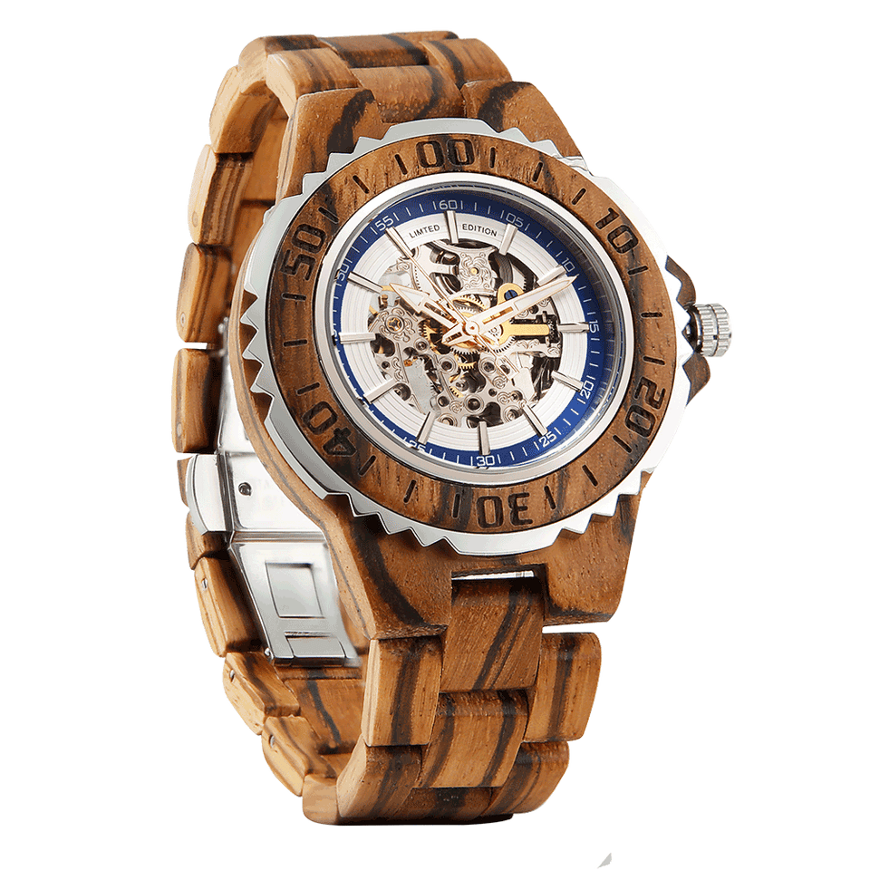 Men's Genuine Automatic Zebra Wooden Watches - worldgad