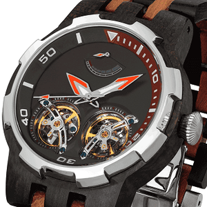 Men's Dual Wheel Automatic Ebony & Rosewood Watch - worldgad