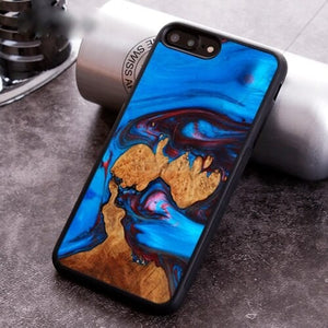 Beautiful BLUE -  wood resin phone case - worldgad