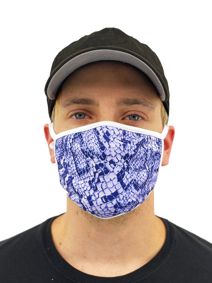 Blue Snakeskin Face Mask With Filter Pocket - worldgad