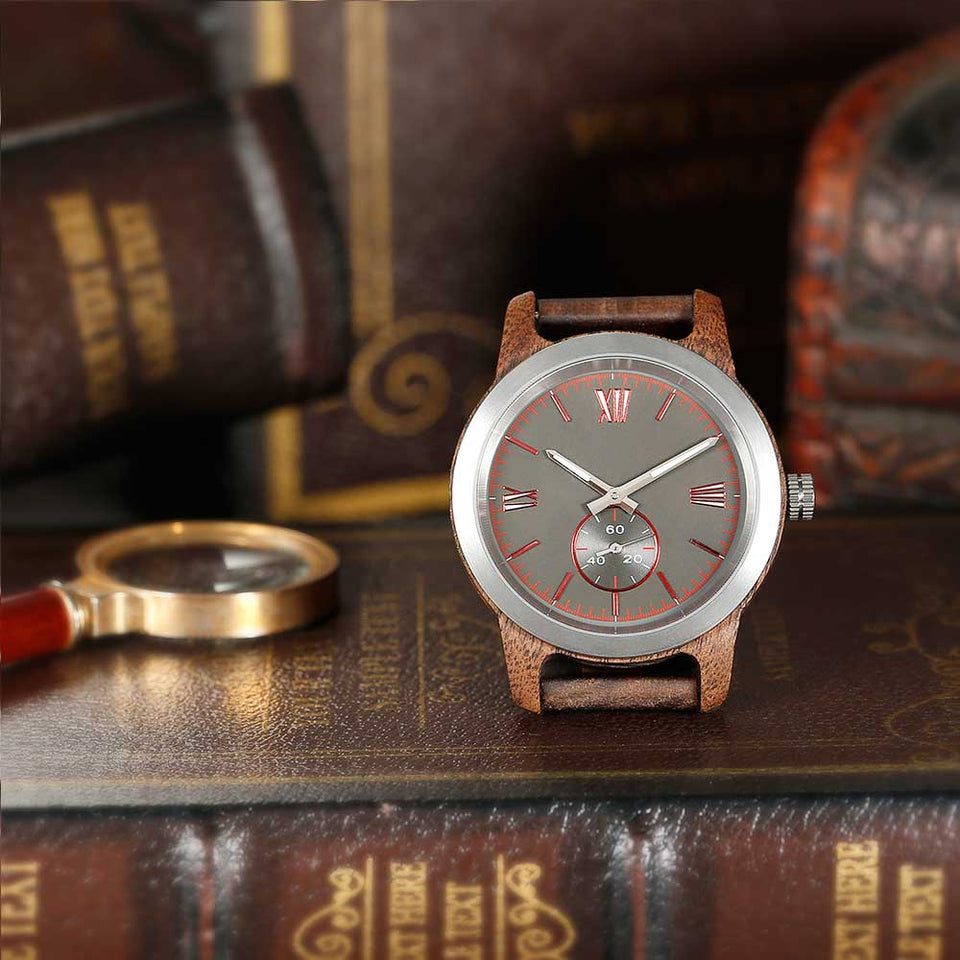 Men's Handcrafted Walnut Wood Watch - worldgad