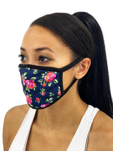 Navy Roses Face Mask With Filter Pocket - worldgad