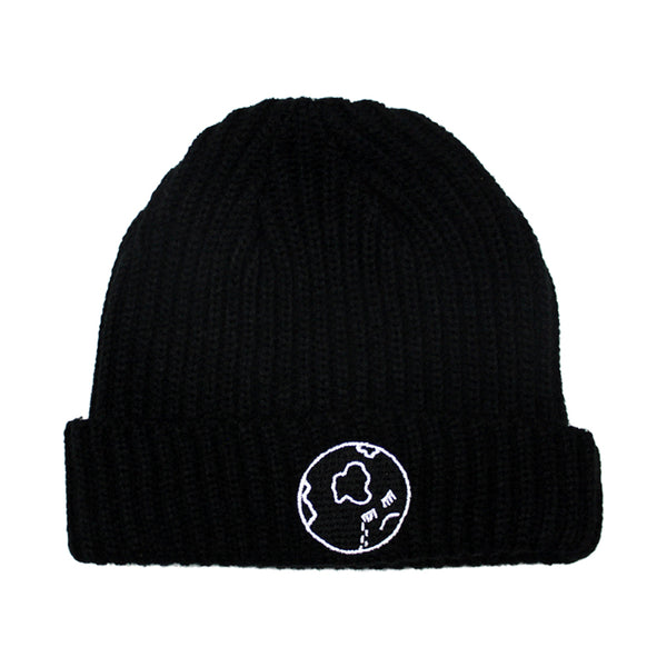 CRYING FACE LOGO BLACK BEANIE