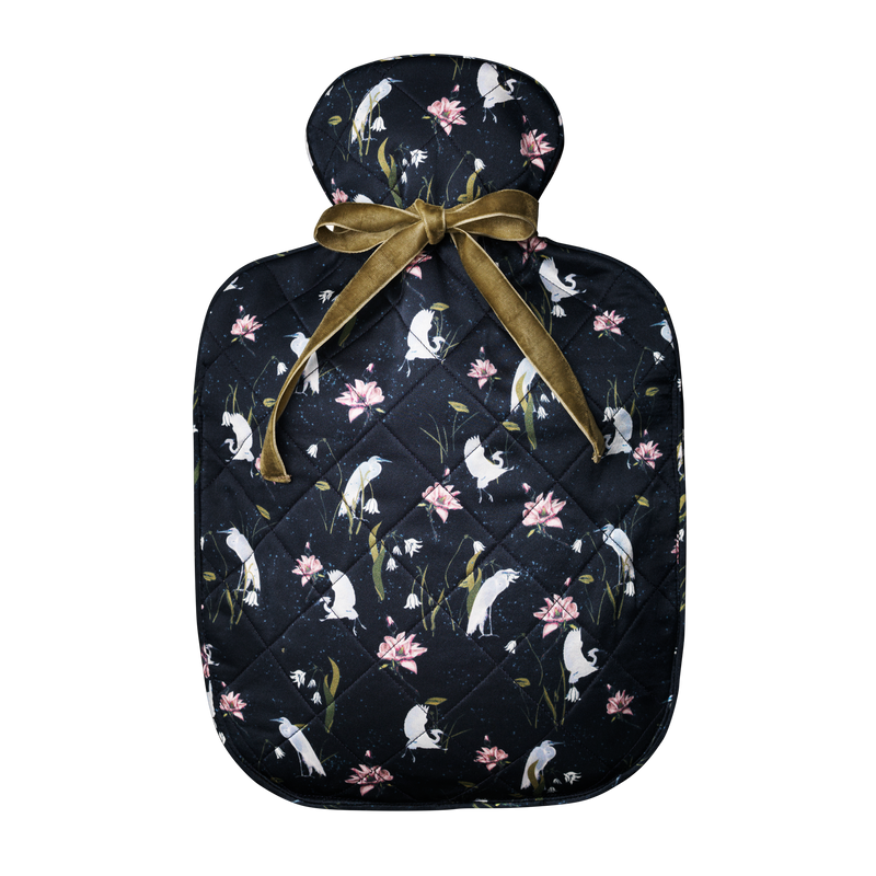 Silk hot water bottle large | Leo Black