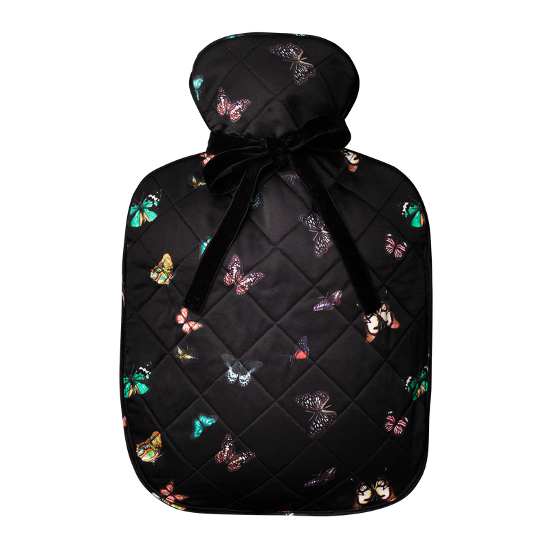 Silk hot water bottle large | columba Black