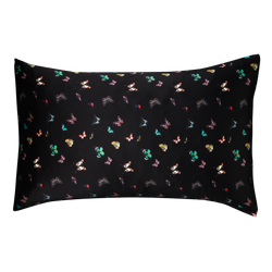 silk pillowcase 50x75 cm | columba Black