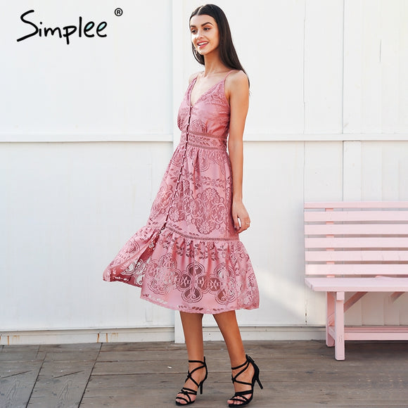 Elegant Pretty In Lace Summer Dress - Picaka