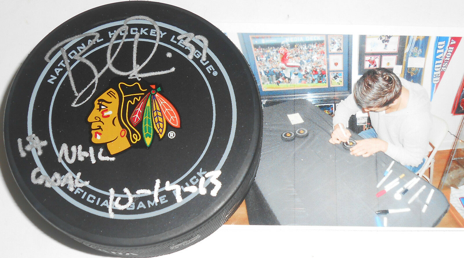 Brandon Pirri Chicago Blackhawks Signed Official Game Puck Inscribed 1st Goal