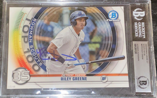 Riley Greene AUTO SIGNED 2020 5x7 Bowman Top 100 BECKETT SLAB