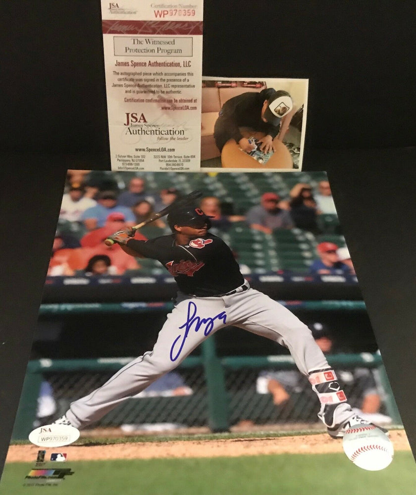 Francisco Mejia Indians Autographed Signed 8x10 Photo JSA WITNESS COA A