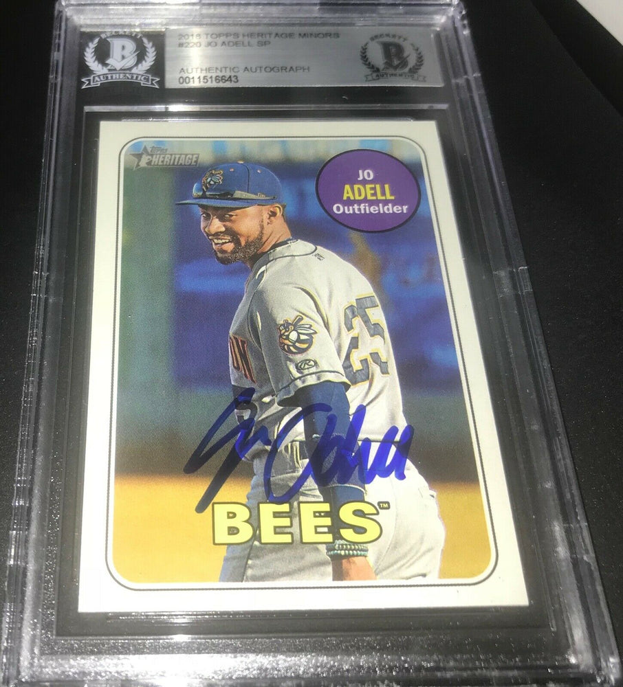 Jo Adell Los Angeles Angels IP SIGNED 2018 Heritage BECKETT CERTIFIED 7