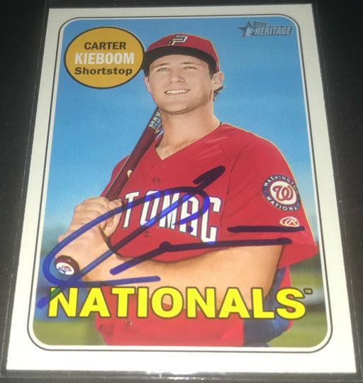 Carter Kieboom Washington Nationals Signed 2018 Topps Heritage Auto #46 a