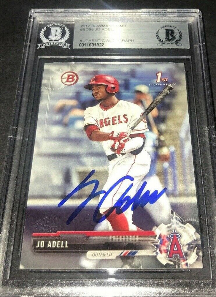 Jo Adell Los Angeles Angels SIGNED 2017 BOWMAN BASE BECKETT CERTIFIED 25