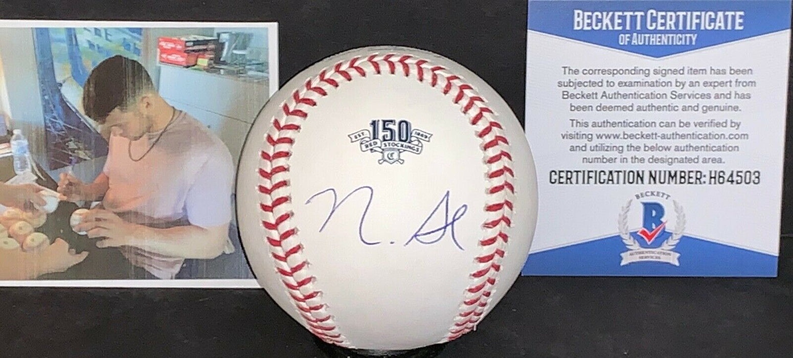Nick Senzel Cincinnati Reds 150th Anniversary Signed Baseball Beckett WITNESS 1