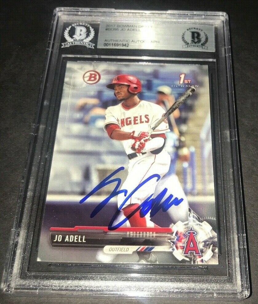 Jo Adell Los Angeles Angels SIGNED 2017 BOWMAN BASE BECKETT CERTIFIED 21