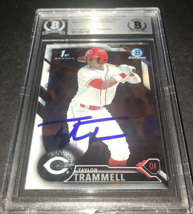 Taylor Trammell Padres SIGNED 2016 BOWMAN DRAFT CHROME BECKETT CERTIFIED q