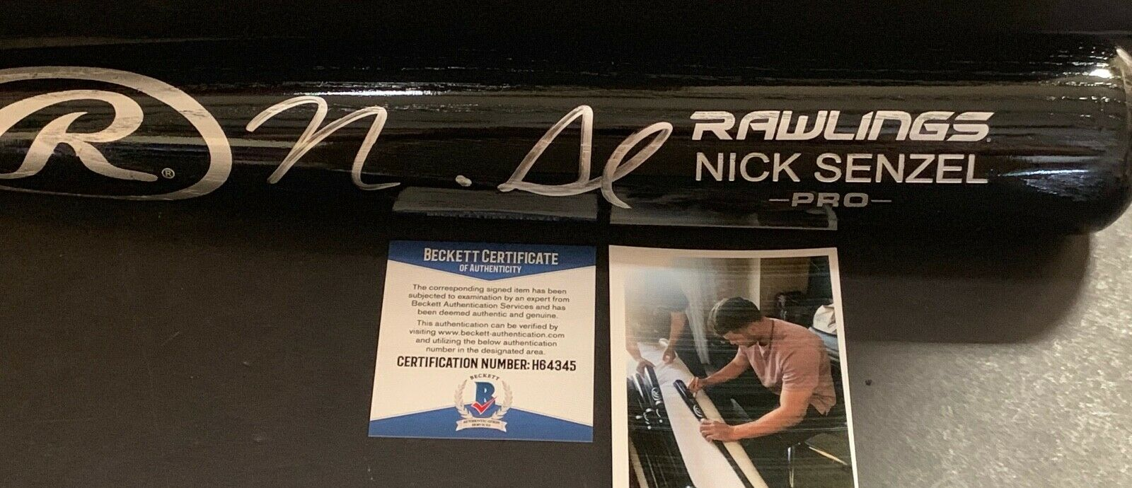 Nick Senzel Cincinnati Reds Signed Engraved Bat Beckett Witness COA Black 1