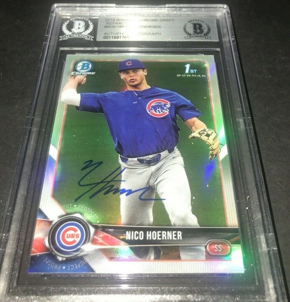 Nico Hoerner Chicago Cubs Bowman SIGNED 2018 BOWMAN CHROME BECKETT CERTIFIED 18