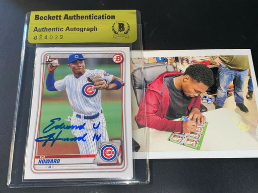 Ed Howard Cubs Auto SIGNED 2020 BOWMAN BASE BECKETT AUTHENTICATED Full Name -