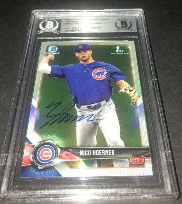 Nico Hoerner Chicago Cubs Bowman SIGNED 2018 BOWMAN CHROME BECKETT CERTIFIED 19