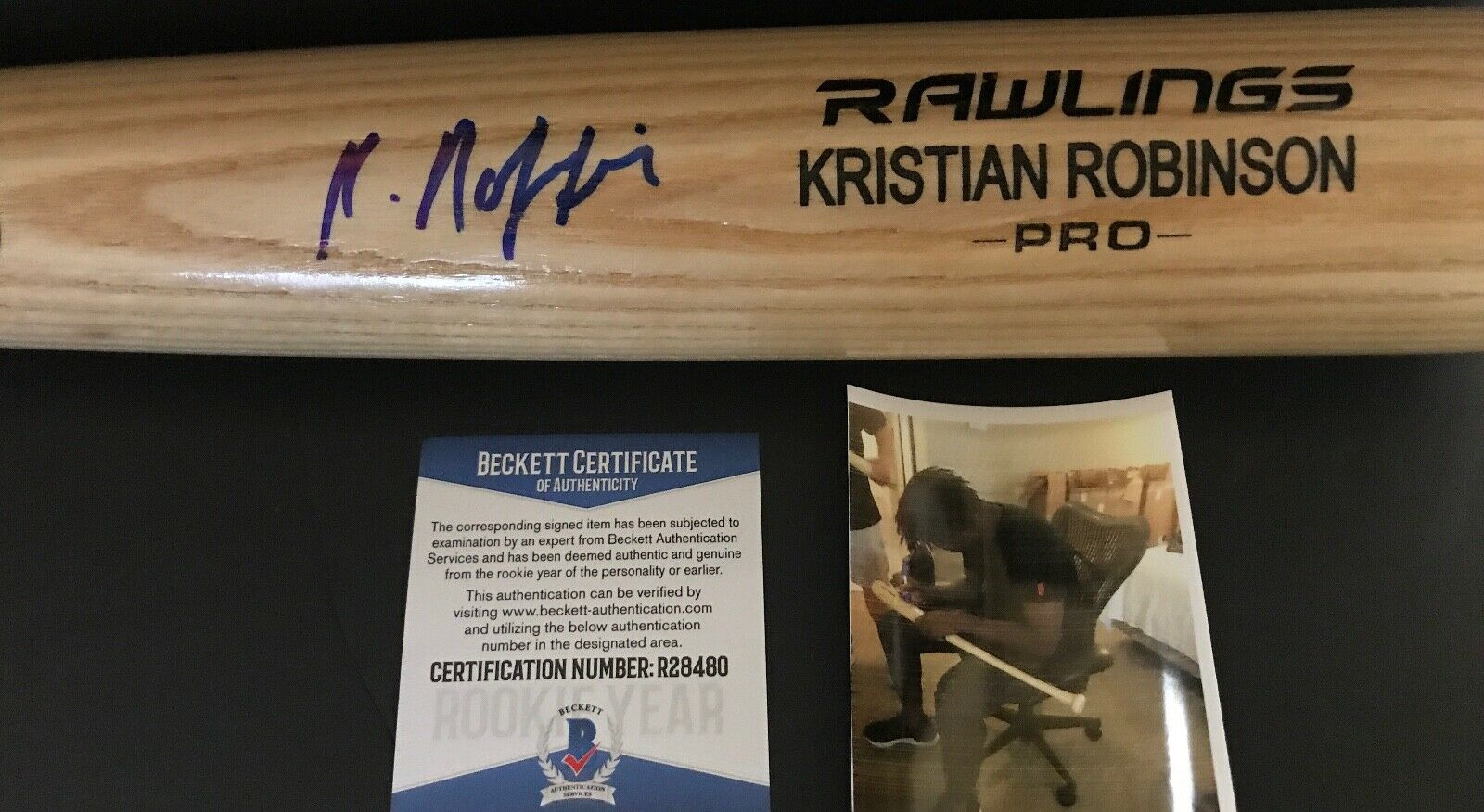 Kristian Robinson Diamondbacks Signed Engraved Blonde Bat BECKETT ROOKIE COA 1