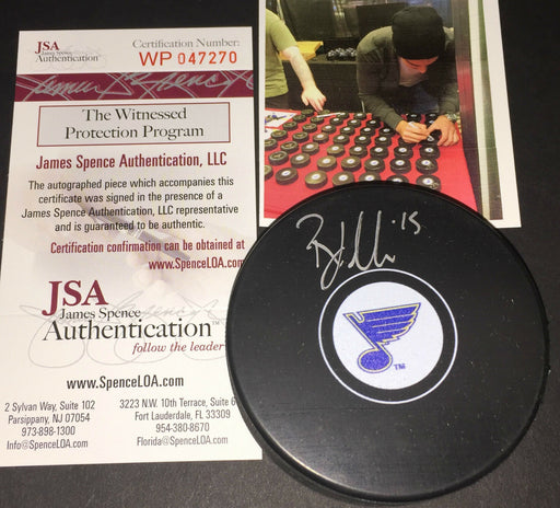 Robby Fabbri St Louis Blues Autographed Signed Hockey Puck JSA WITNESS