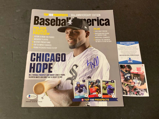 Luis Robert White Sox Autographed Signed Baseball America Beckett Witness COA .
