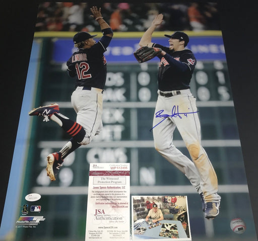 Bradley Zimmer Indians Autographed Signed 16x20 Photo JSA WITNESS COA LINDOR 1