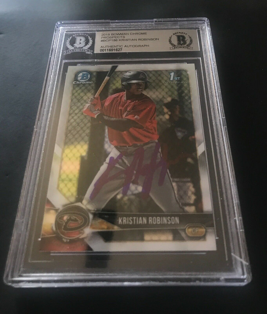 KRISTIAN ROBINSON DIAMONDBACKS 2018 BOWMAN CHROME 22 BECKETT CERTIFIED