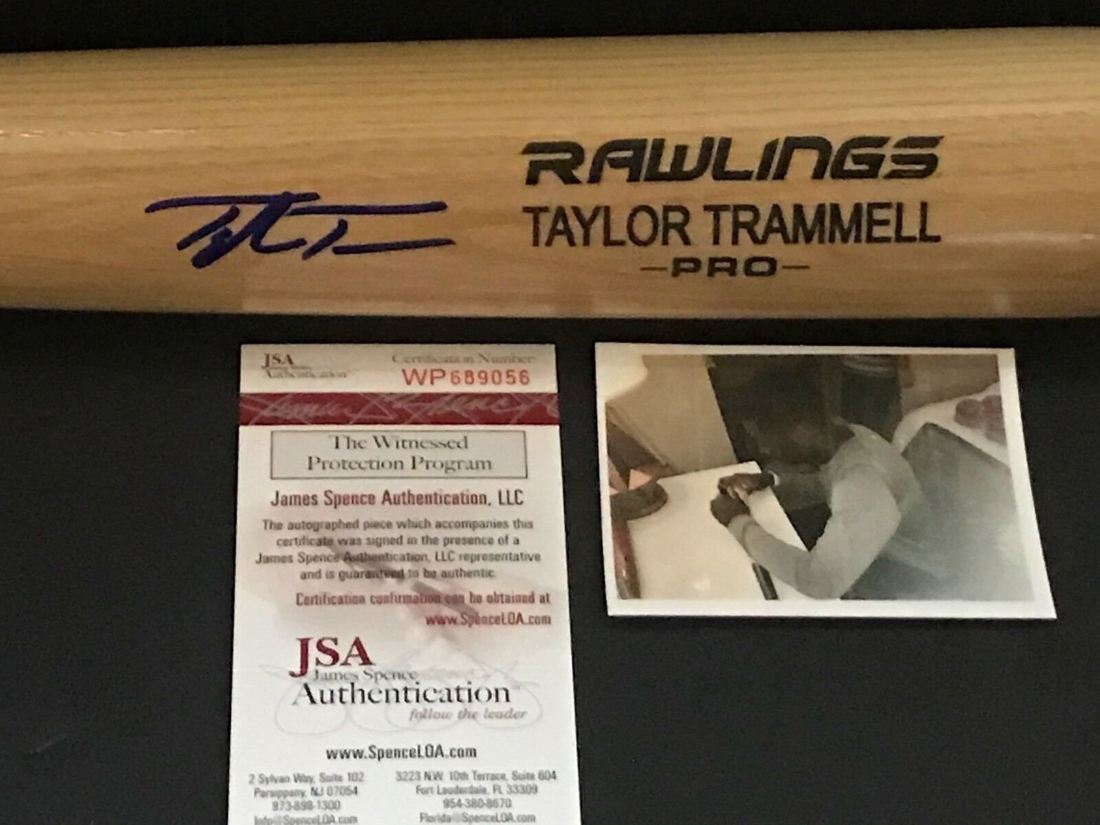 Taylor Trammell Cincinnati Reds Signed Engraved Bat JSA WITNESS COA Blonde A
