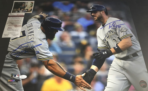 Eric Thames & Travis Shaw Brewers Autographed Signed 16x20 Photo JSA WITNESS COA