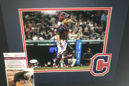 Francisco Mejia Cleveland Indians Signed MATTED 8x10 Photo JSA WITNESS COA E