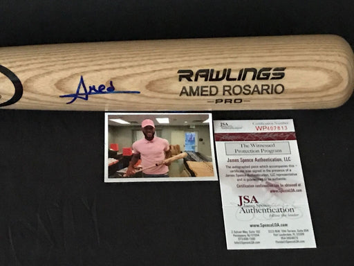 Amed Rosario New York Mets Signed Engraved Bat JSA WITNESS COA Blonde