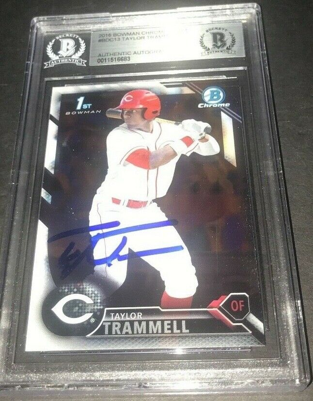 Taylor Trammell Padres SIGNED 2016 BOWMAN DRAFT CHROME BECKETT CERTIFIED c