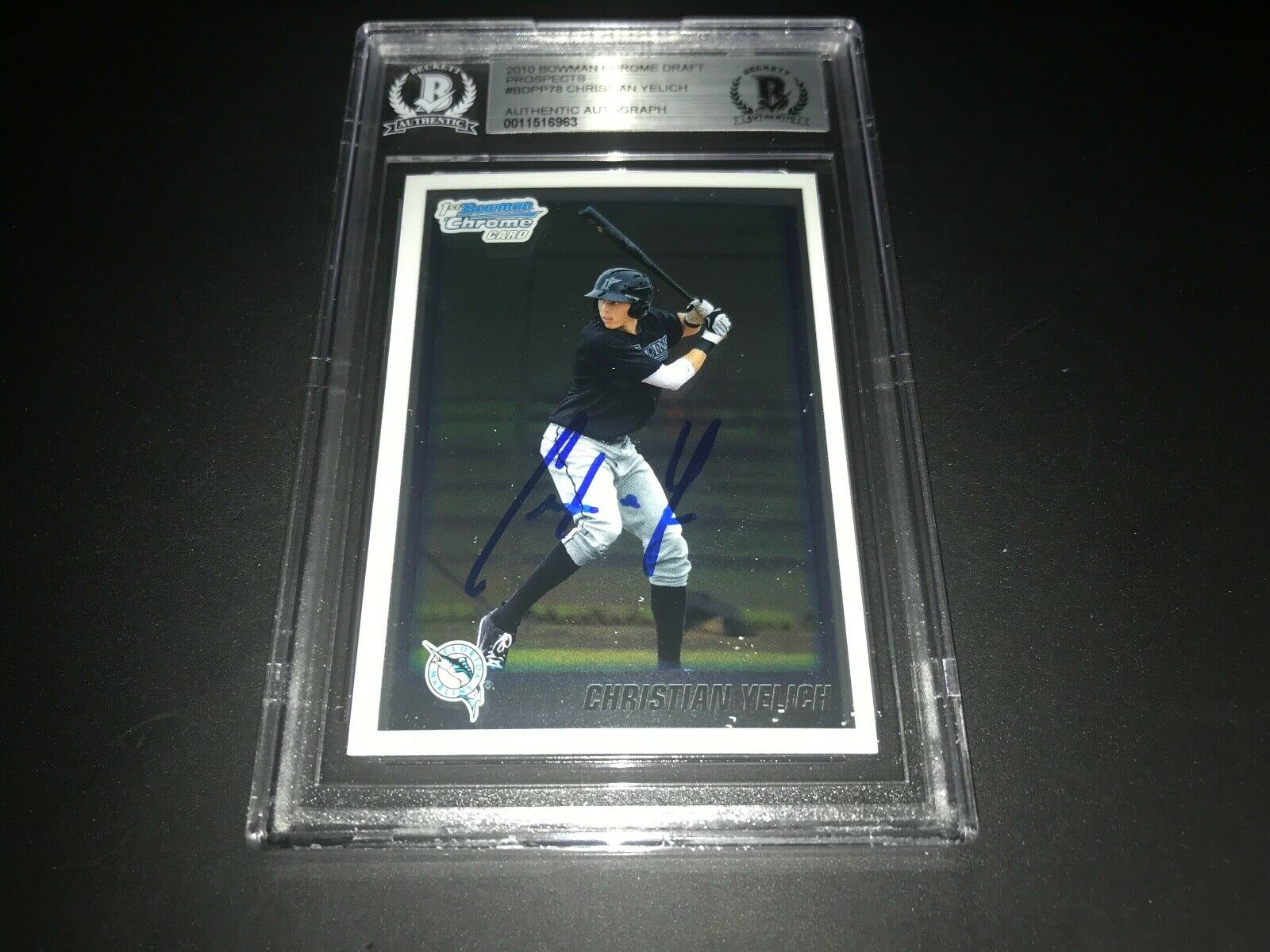 Christian Yelich Brewers IP SIGNED 2010 BOWMAN CHROME DRAFT BECKETT CERTIFIED S
