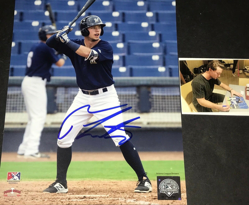 Tristen Lutz Milwaukee Brewers Autographed Signed 8x10 Photo A