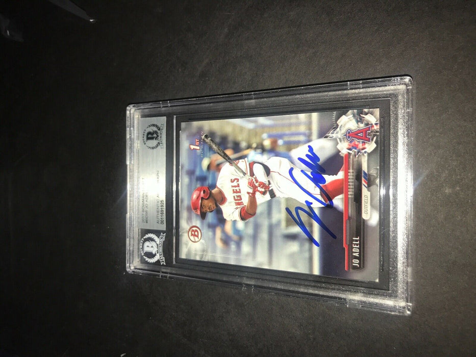 Jo Adell Los Angeles Angels SIGNED 2017 BOWMAN BASE BECKETT CERTIFIED 22