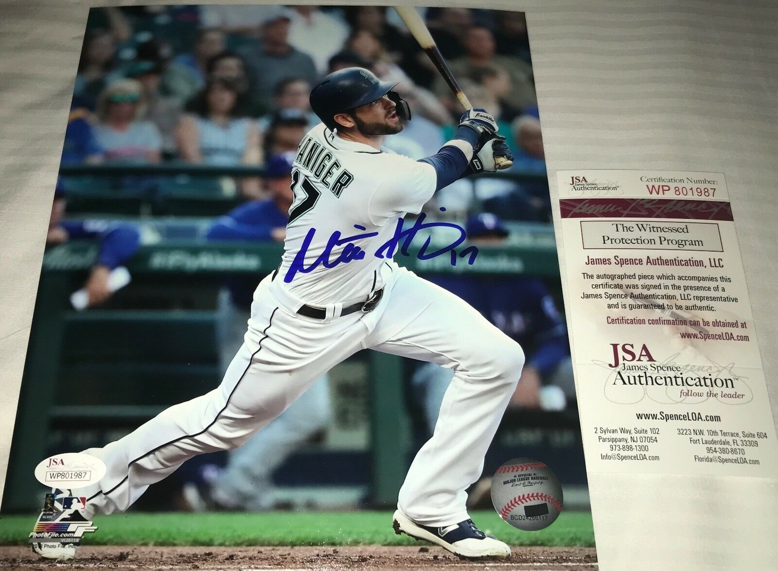 Mitch Haniger Mariners Autographed Signed 8x10 Photo JSA WITNESS COA