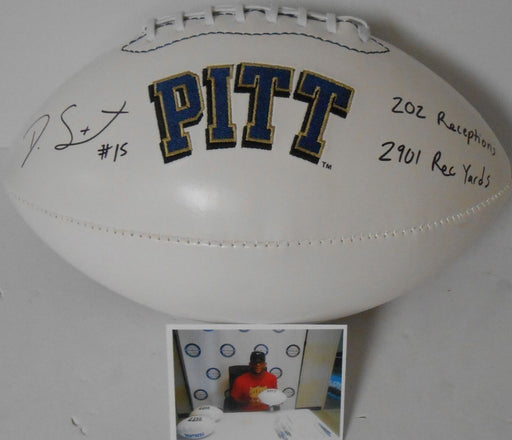 Devin Street University of Pittsburgh Autographed Signed White Football 2 Ins