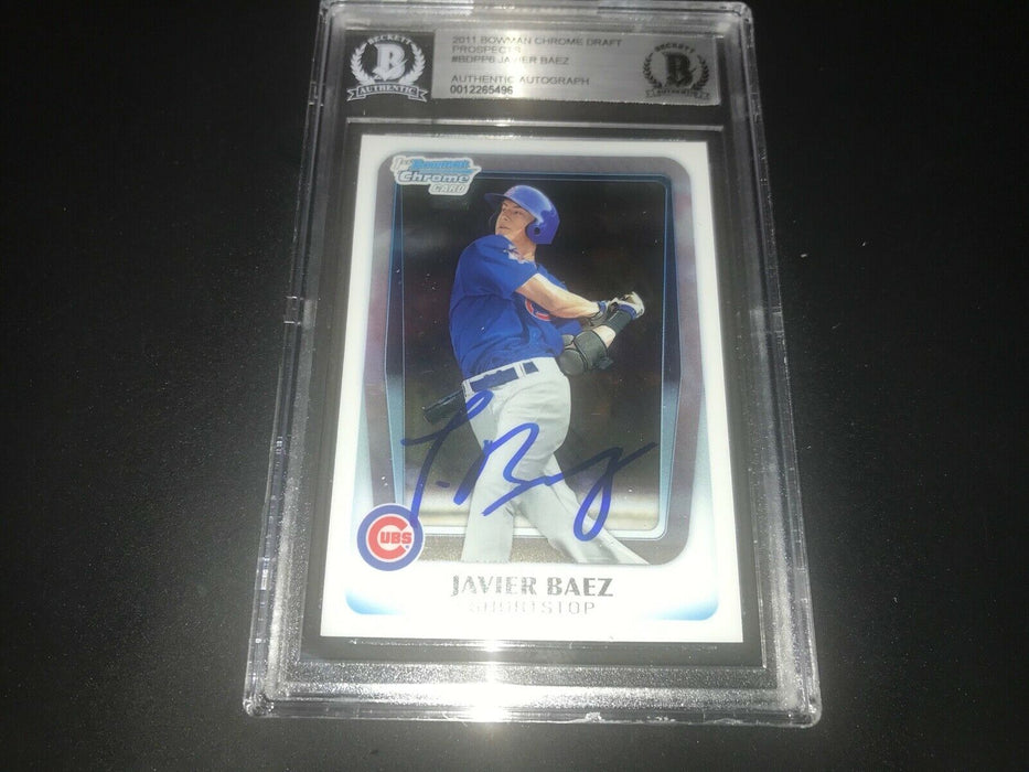 Javier Baez Javy Chicago Cubs SIGNED 2011 BOWMAN CHROME BECKETT CERTIFIED 3